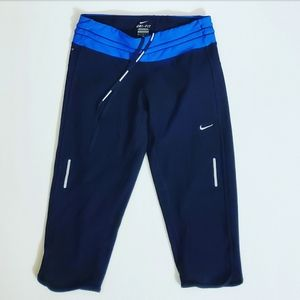 Nike Dri Fit Black & Blue Workout Capri Pants M